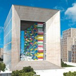 La Grande Arche de la Defense in an overcrowded Paris o...