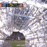 A baseball bat smacks his gear, but the cameraman keeps...