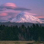 Lenticular clouds on top of Mount Rainier