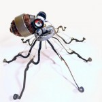 Octopus sculpture from old typewriter parts