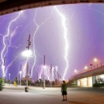 Olympic Stadium in  Athens during a severe thunderstorm
