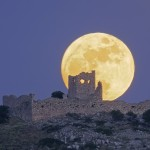Full Moon Frankish Castle in Aliveri-Greece