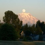 Full Moon Over Mount Rainier