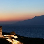 Moonrise above Drakano castle, Ikaria, Greece