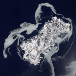 Sea ice surrounds Shikotan volcanic island