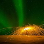 Sparks fly with Northern lights