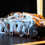 Acrobats perform in Geneva motor show