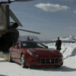 Ferrari FF with Chinook helicopter in Alps