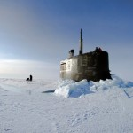 Submarine surfaces above the ice