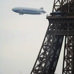 Airship and Eiffel Tower