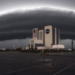 Funnel clouds over Kennedy Space Center
