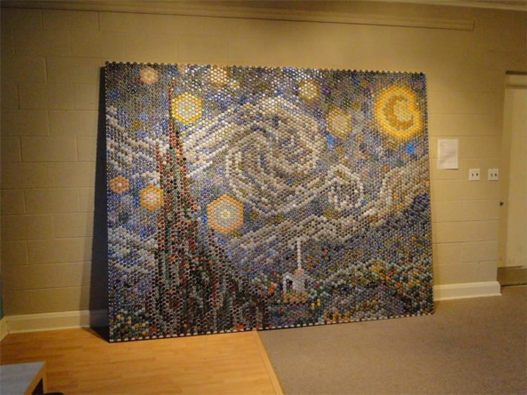 Starry Night With Bottle Caps Wordlesstech
