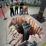 Optical illusion 3D street art