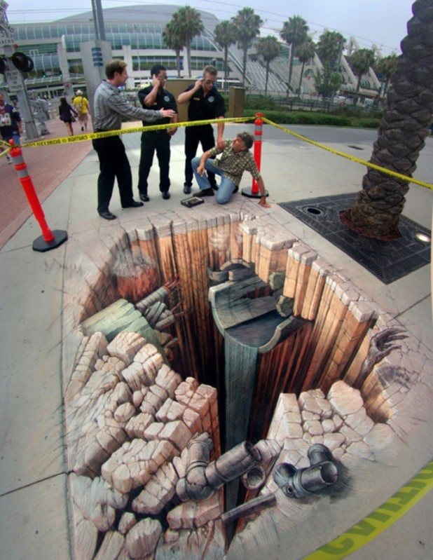 illusion 3d street optical illusions chalk sidewalk drawings wenner awesome kurt wordlesstech realistic amazing artist paintings pavement painting floor walls