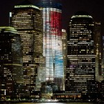 Freedom Tower in red, white and blue