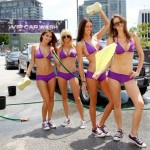 Bikini girls promote video game in LA