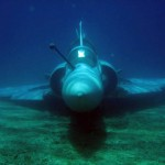 Jet fighter lies at the Aegean sea