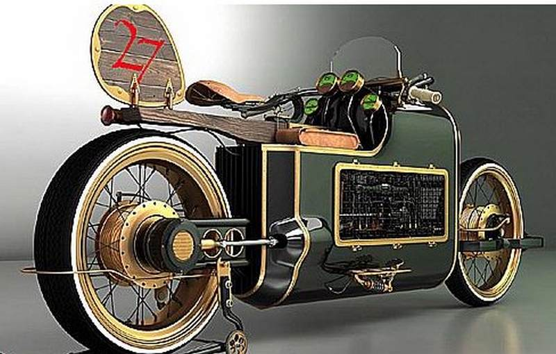 Wordlesstech russian steampunk bike for Is a bicycle considered a motor vehicle