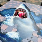 3D shark pavement artwork