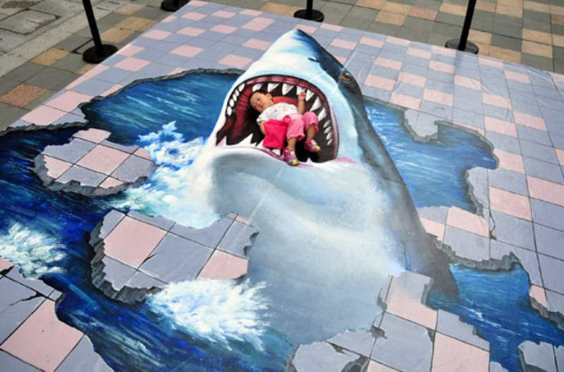 3d shark pavement artwork wordlesstech
