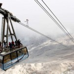 Stuntman walks up Germany's highest cable car