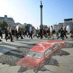3D drawing in Trafalgar Square