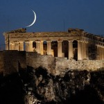 Acropolis and new moon