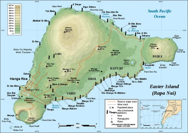Easter Island in Chilean Polynesia -map