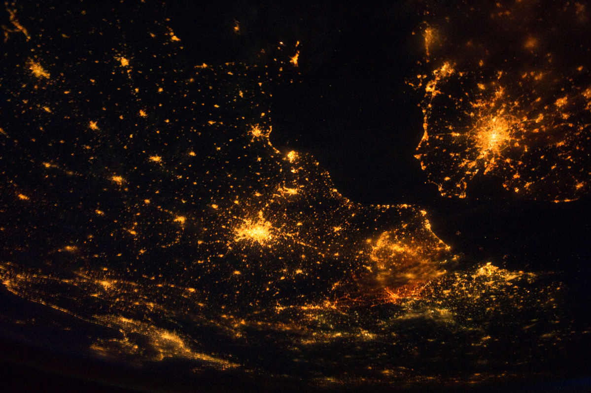 London and Paris from space