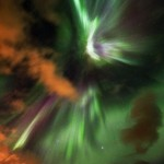 Northern Lights in clouds