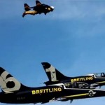 Jetman flies with the Breitling Jet Team