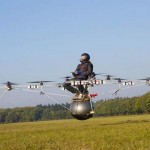 Manned flight of an electric multicopter