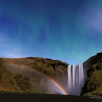 Waterfall, Moonbow, Aurora