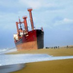 A cargo vessel on the beach (video)