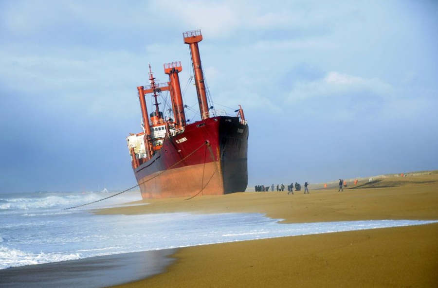 Freighter TK Bremen on the coastline of Erdeven