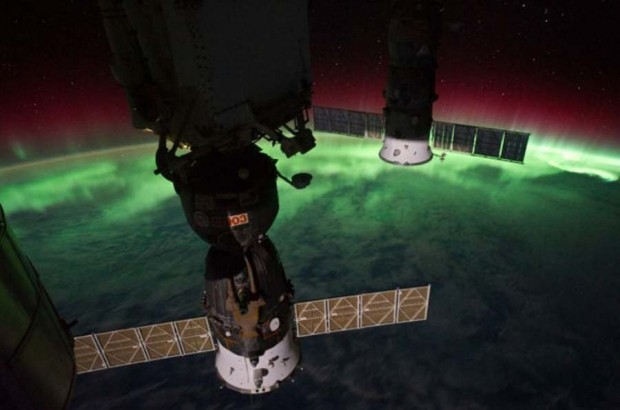 Aurora and two Soyuz spacecraft docked to the International Space Station
