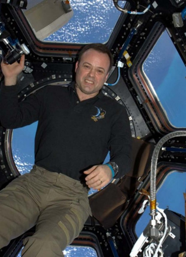 Astronaut Ron Garan next to the cupola