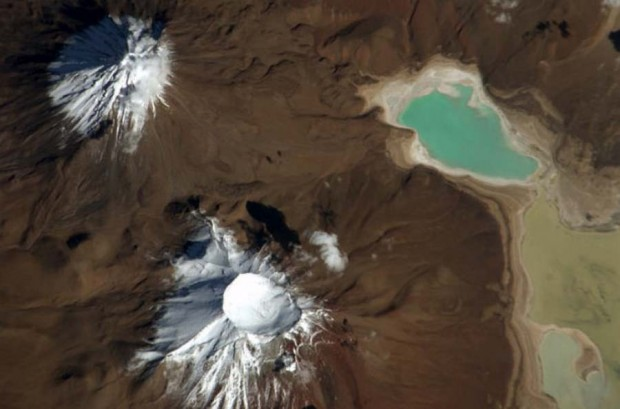 Licancabur and Juriques volcanoes, on the Bolivia-Chile