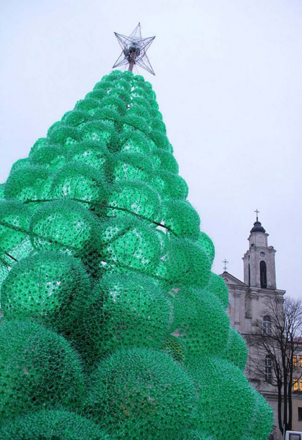 Christmas Tree made recycled green bottles