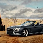 Mercedes SL Roadster with Lara Stone