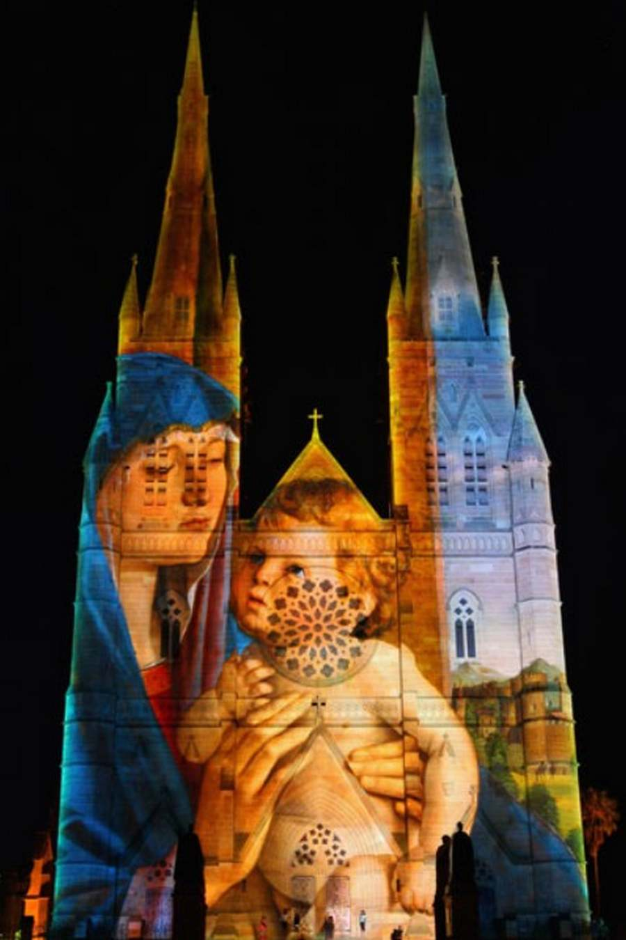 Lights of Christmas on St Mary's Cathedral
