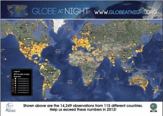 GLOBE at Night for light pollution