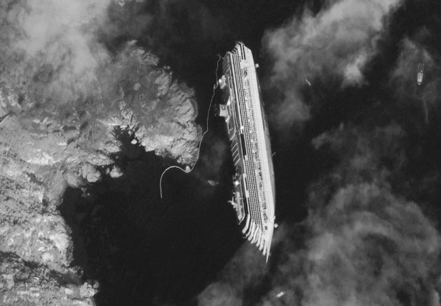 Costa Concordia viewed from Satellite