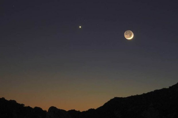 Earthshine, Moon and Venus