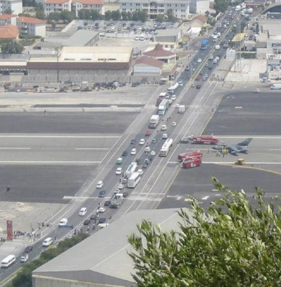 Wordlesstech Gibraltar Airport Where Planes Meet Cars