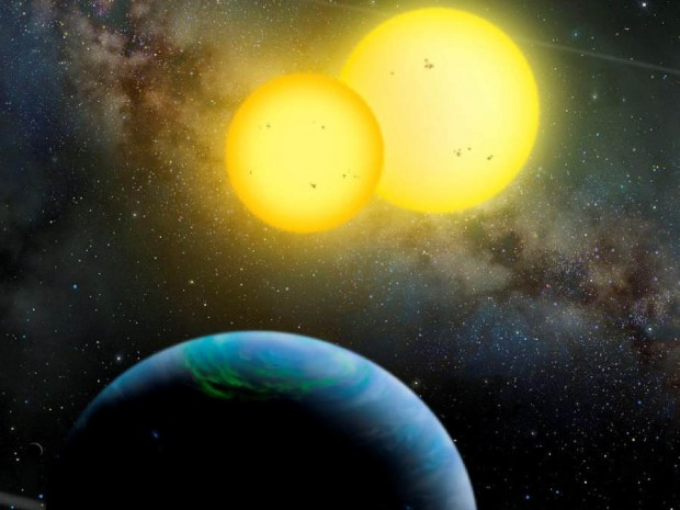 Kepler-34 b orbits two sun-like stars