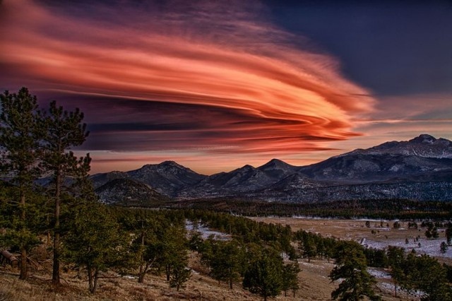 Lenticular clouds over Deer Mountain in Rocky Mountain National Park