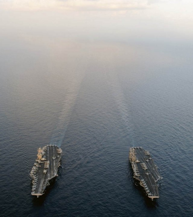 USS Abraham Lincoln and USS John C Stennis, the Nimitz-class aircraft carriers in the Arabian Sea