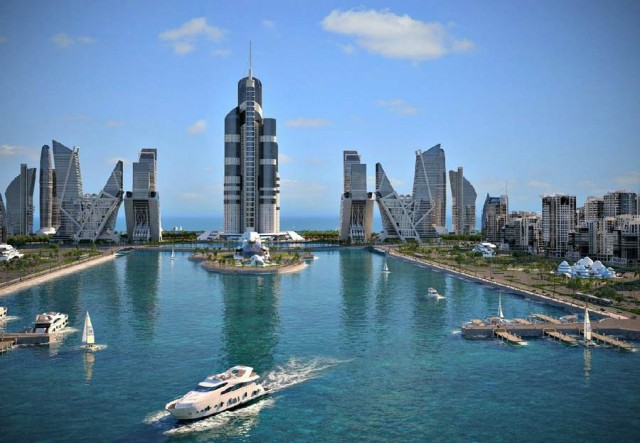 World's tallest building in Khazar islands in Baku, Caspian Sea