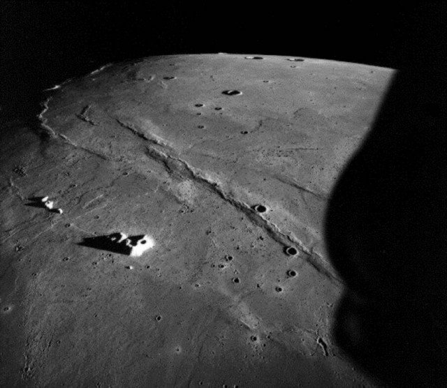 Apollo 15 orbital metric camera, oblique image of the Sea of Rains